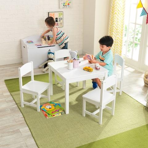 KidKraft Farmhouse Table & 4 Chairs Set - White