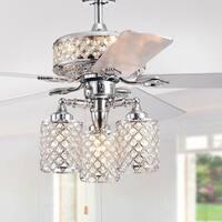 Treista 52-inch 5-blade Chrome Lighted Ceiling Fans with Crystal Lattice Shades