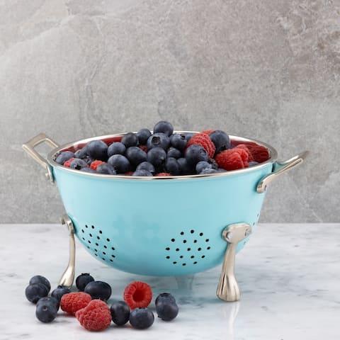 """Aqua Blue Berry Colander, 6"""""""