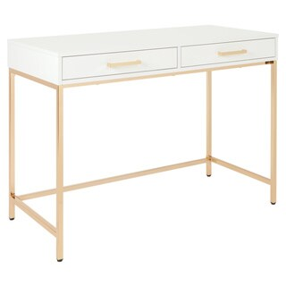OSP Home Furnishings Alios Desk with White Gloss Finish and Gold Base