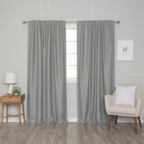 Aurora Home Rod Pocket Woven Lined Blackout Curtain Panel Pair