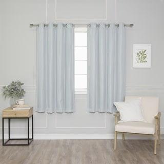 Aurora Home Silver Grommet Basketweave Blackout Curtain Panel Pair