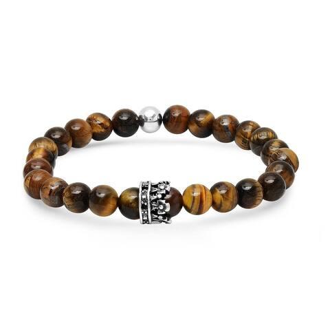Steeltime Men's tiger eye beaded bracelet with stainless steel crown