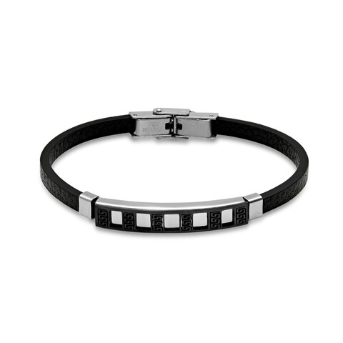 Steeltime Men's black leather bracelet with black ip greek key and stainless steel accents