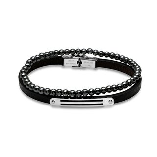 Minoxia Men's set of 2 black leather stainless steel and hematite beaded bracelets in 2 colors.