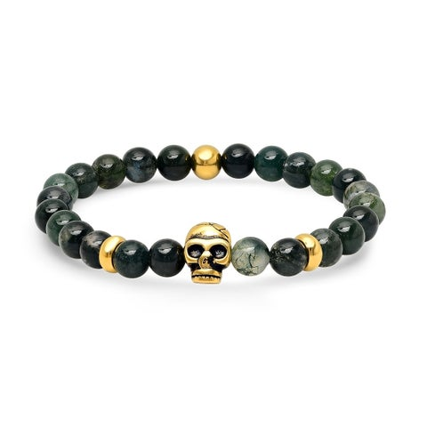 Steeltime Men's Diluted Green Agate Beaded Bracelet With 18k Gold Plated Stainless Steel Skull Accents