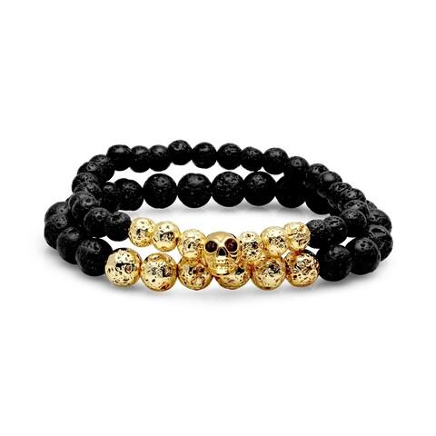 Steeltime Men's set of 2 black lava and 18k gold plated stainless steel beaded bracelet with skull