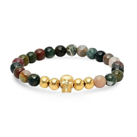 Steeltime Men's agate beaded bracelet with 18k gold plated stainless steel skull