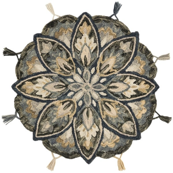 Hand-hooked Slate/ Beige Floral Round Wool Area Rug - 3' x 3' Round