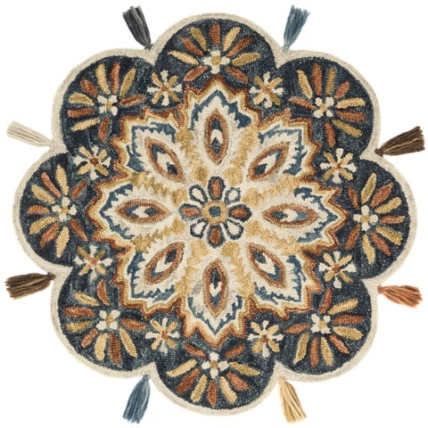 Hand-hooked Charcoal/ Rust Floral Round Wool Area Rug - 3' x 3'