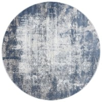 Distressed Abstract Blue/ Grey Textured Vintage Round Rug - 7'10 x 7'10