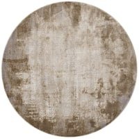 Distressed Abstract Taupe/ Grey Textured Vintage Round Rug - 7'10 x 7'10