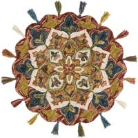Hand-hooked Rust/ Multi Floral Round Wool Area Rug - 3' x 3' Round
