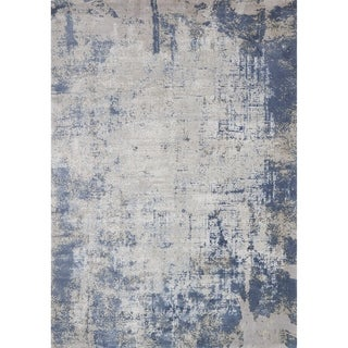 Distressed Abstract Blue/ Grey Textured Vintage Area Rug - 12' x 15'