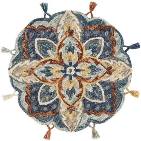 Hand-hooked Blue/ Rust Floral Round Wool Area Rug - 3' x 3' Round