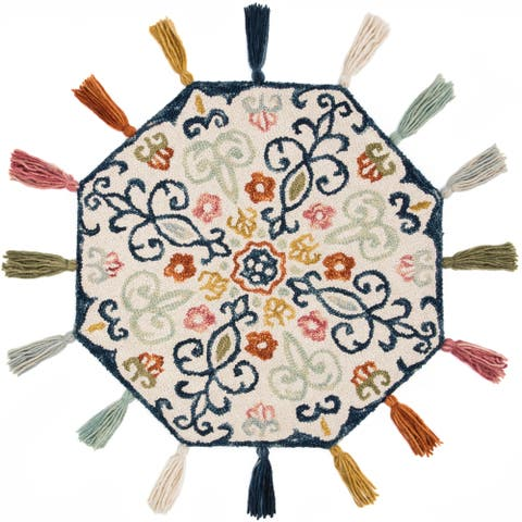 Hand-hooked Ivory/ Blue Multi Scroll Octagon Wool Area Rug - 3' x 3' Round