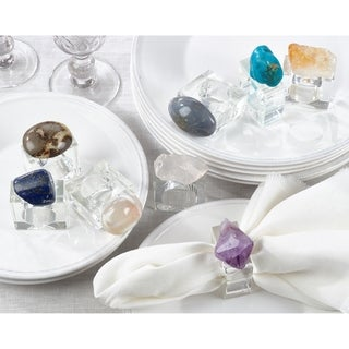 Napkin Rings With Natural Stone (Set of 4)