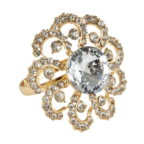 Jeweled Floral Napkin Rings (Set of 4)