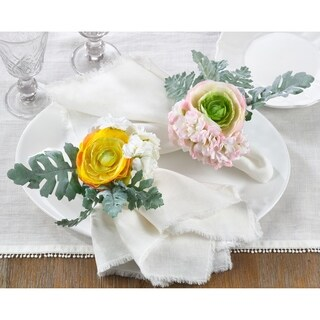 Napkin Ring Holders With Ranunculus Design (Set of 4)