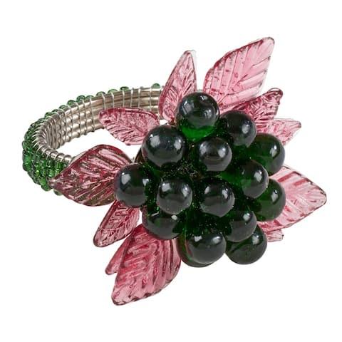 Flower and Leaves Design Beaded Napkin Rings (Set of 4)