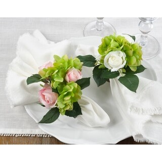 Napkin Rings With Rose Design (Set of 4)