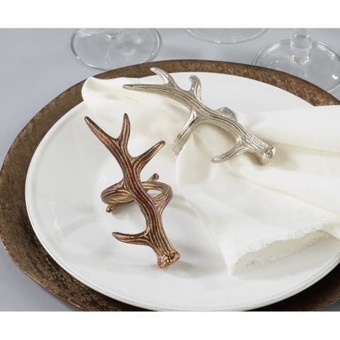 Rustic Napkin Rings With Antler Design (Set of 4)