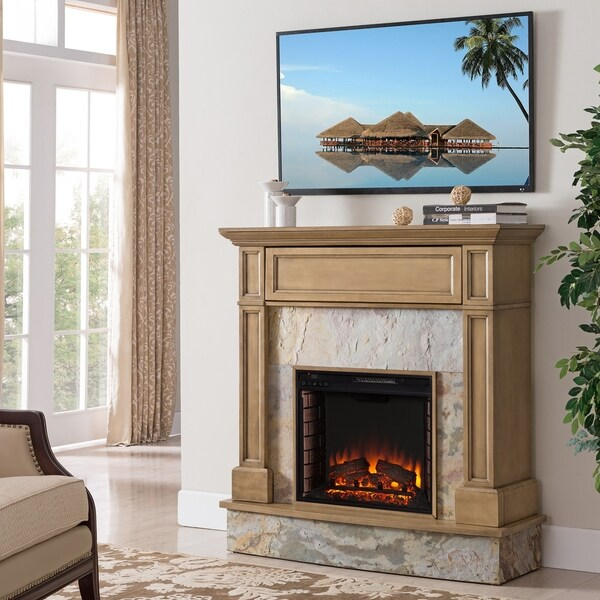 Holte Stone Media Electric Fireplace