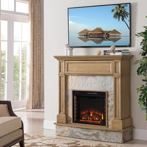 Harper Blvd Holte Stone Media Electric Fireplace, Weathered Gray Oak and Rustic Marble