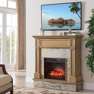 Harper Blvd Holte Stone Media Infrared Fireplace, Weathered Gray Oak and Rustic Marble