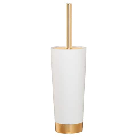 Sealskin Toilet Brush And Holder Glossy White And Gold Polyresin