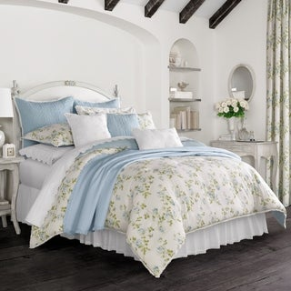 Five Queens Court Rosalind Blue 100% Cotton 4 Piece Comforter Set