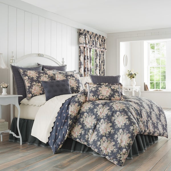 Five Queens Court Bailee Floral 100% Cotton 4 Piece Comforter Set