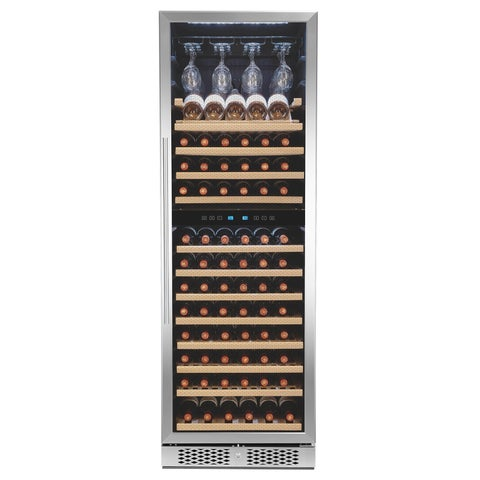 AKDY 121-Bottle Touch Panel Dual Zone Wood Shelf Freestanding Compressor Wine Cooler
