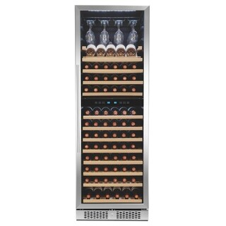 AKDY 121-Bottle Touch Panel Dual Zone Wood Shelf Freestanding Compressor Wine Cooler