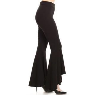 Women's Solid Comfort Stretchy Elastic Flared Leg Pants