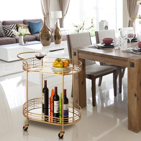 Glitzhome Metallic Gold 2-Tier Serving Cart with Mirrored Glass