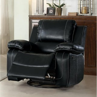 Leather Upholstered Swivel Glider Reclining Chair, Black