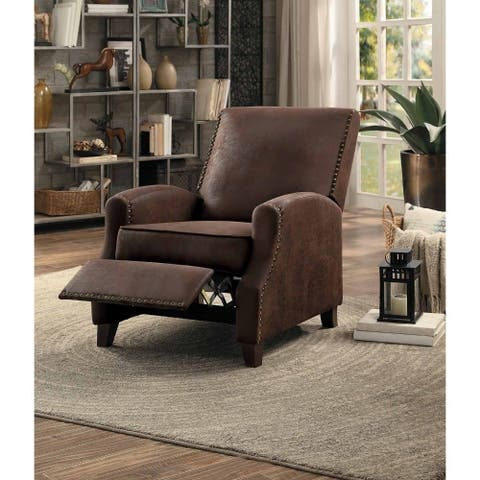 Leather Upholstered Push Back Recliner Chair with Nail head trim, Brown