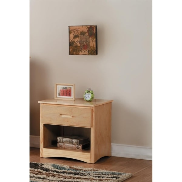 Wooden Night Stand With Bottom Shelf, Natural Brown