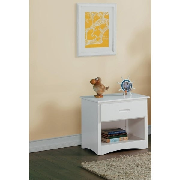 Wooden Night Stand With Bottom Shelf, White