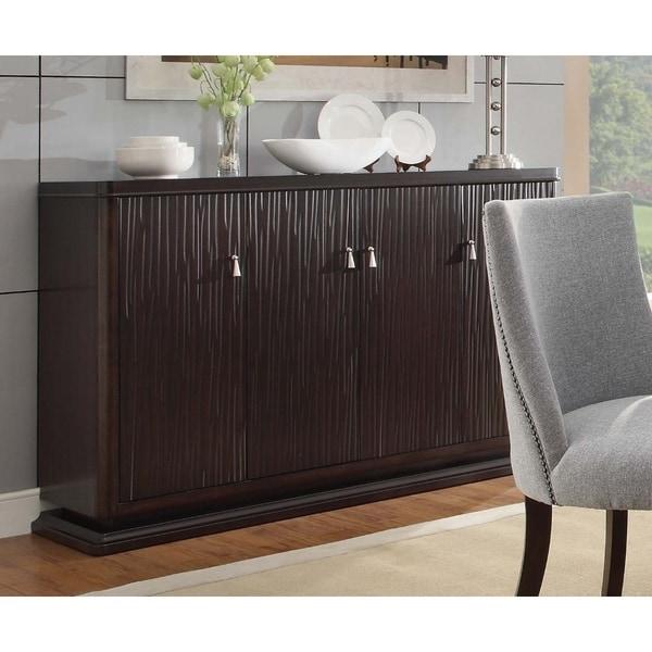 Solid Textured Wooden Server With Wine Rack Buffet Storage Deep Espresso Brown
