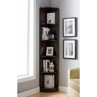 Wooden Corner Display Cabinet, Dark Walnut Brown