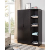 Wooden Wardrobe With Open Side Shelves, Red Cocoa Brown