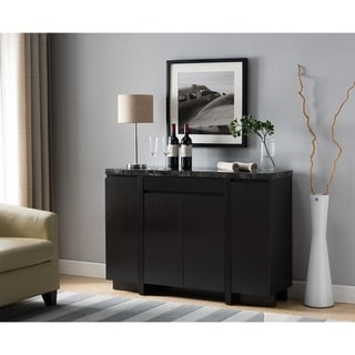 Spacious Wooden Buffet with Textured Faux Marble Top, Black and Brown