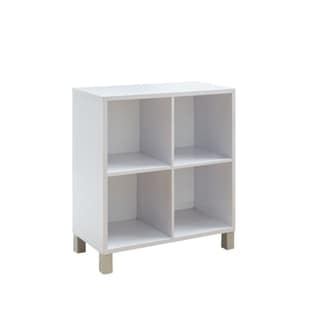 Wooden Cube Display Cabinet With Four Shelves, White