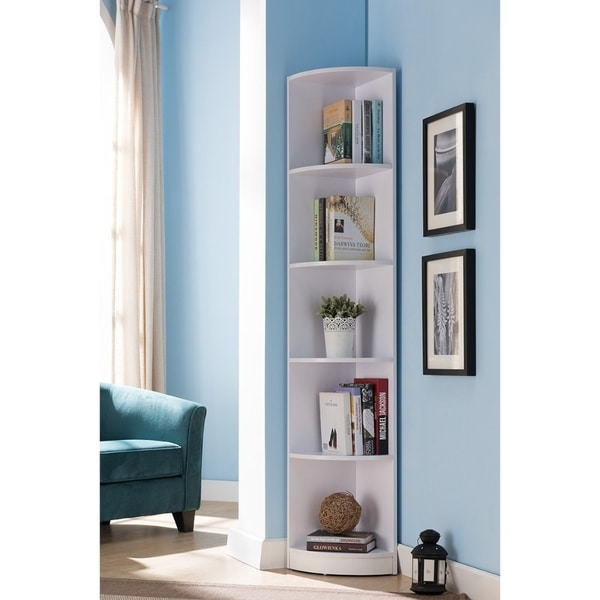 shop wooden corner display cabinet white free shipping today rh overstock com Living Room Corner Trim Custom Living Room Corner Cabinets