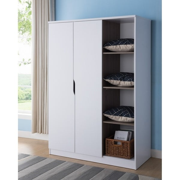 Wooden Wardrobe With Open Side Shelves White And Brown On Free Shipping Today 23467722