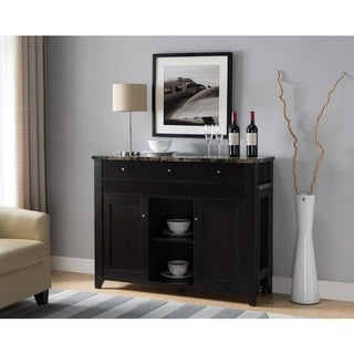 Wooden Buffet With Marble Top, Red Cocoa Brown