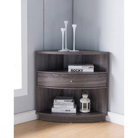 Wooden Corner Cabinet With 1 Drawer And 2 Shelves, Distressed Gray