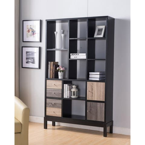 Wooden Display Cabinet with Multiple Shelves, Black